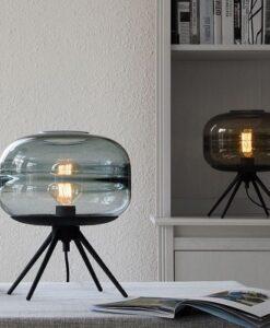 Đèn bàn thủy tinh trang trí phòng ngủ, phòng khách phong cách Bắc Âu cao cấp TL-DN14 khói