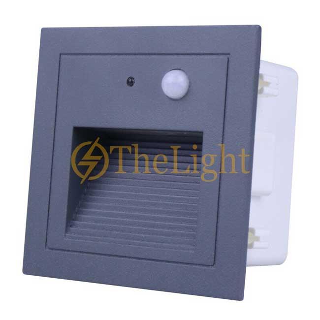 Đèn LED cảm biến âm tường gắn chân bậc cầu thang ngoài trời 3w cao cấp DL-CT08 vỏ đen