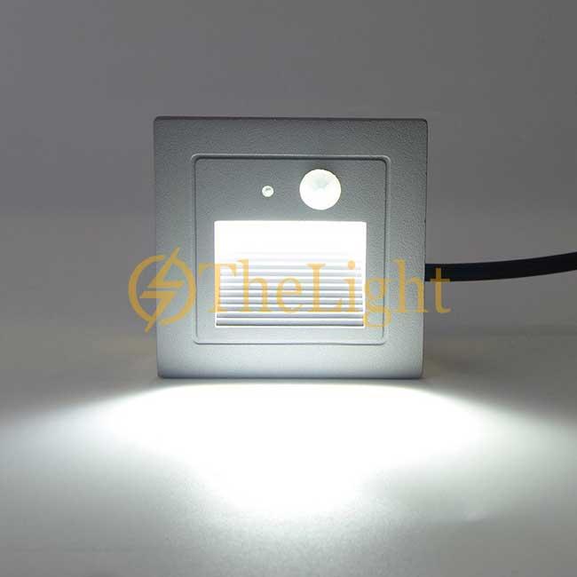 Đèn LED cảm biến âm tường gắn chân bậc cầu thang ngoài trời 3w cao cấp DL-CT08 vỏ xám