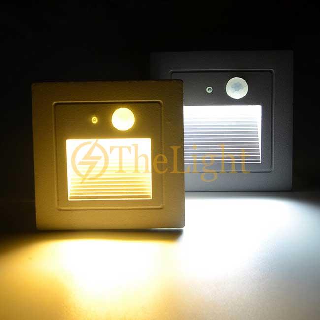 Đèn LED cảm biến âm tường gắn chân bậc cầu thang ngoài trời 3w cao cấp DL-CT08