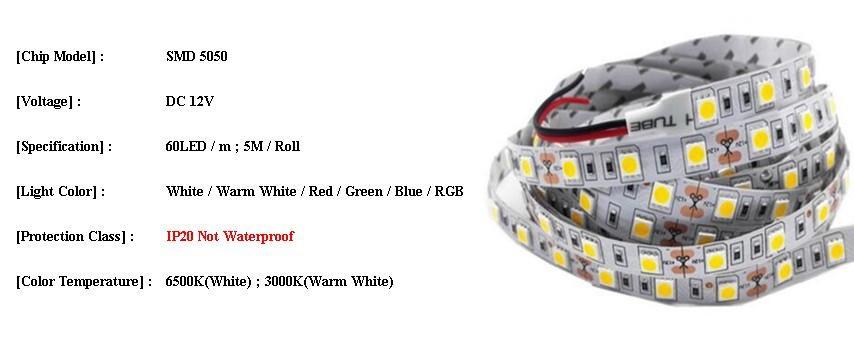 Đèn LED dây 12v 5050 60P cao cấp DL-12v-5050