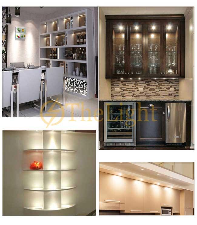 Đèn LED downlight COB mini âm trần tủ bếp, tủ rượu, tủ kệ trưng bày, tủ quần áo cao cấp D35mm TL-SPL01 ứng dụng