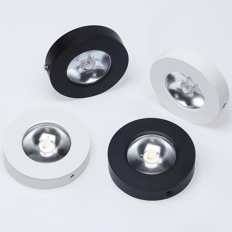 Đèn LED downlight COB mini gắn trần tủ bếp, tủ rượu, tủ kệ trưng bày, tủ quần áo cao cấp D75xH18mm TL-TUR01 vỏ đen, trắng