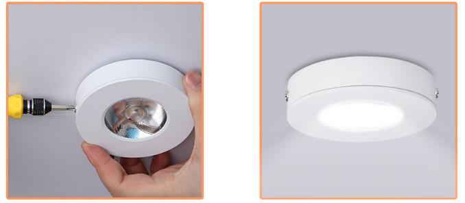 Đèn LED downlight COB mini gắn trần tủ bếp, tủ rượu, tủ kệ trưng bày, tủ quần áo cao cấp D75xH18mm TL-TUR01 hoàn thành lắp đặt