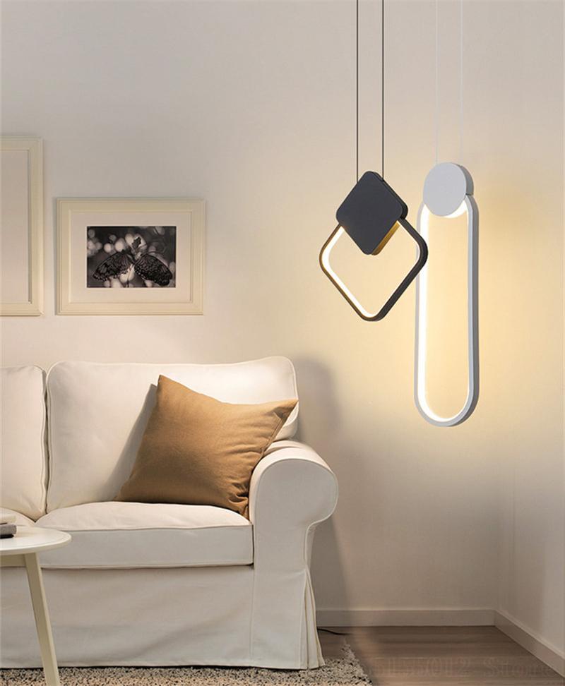 Đèn thả phòng ngủ LED 3 mầu trang trí đầu giường cao cấp DG-01F dáng C